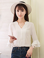 Women's Going out Casual/Daily Simple Shirt,Solid V Neck ¾ Sleeve Others