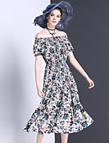 Women's Going out Casual/Daily Boho Cute Swing Dress,Floral Boat Neck Midi Short Sleeve Rayon Summer Mid Rise Inelastic Medium