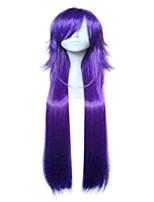 Synthétique à haute température, fibre, violet, blonde, cosplay, perruque, femme, long, droit, cheveux, perruques, 2 couleurs