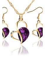 Set de Bijoux Collier / Boucles d'oreilles Nuptiales Parures Cristal Strass Pendant Amour Cœur Mode Bijoux de Luxe Cristal Gemme Strass