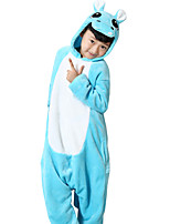 Kigurumi Pajamas Hippo Leotard/Onesie Festival/Holiday Animal Sleepwear Halloween Blue Animal Print Flannel Cosplay Costumes For Kid