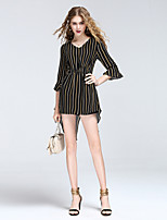8CFAMILY Women's Going out Casual/Daily Sexy Cute Street chic Summer T-shirtStriped V Neck  Length Sleeve Linen Polyester Thin