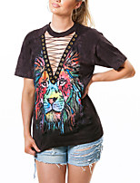 Women's Going out Casual/Daily Sexy Vintage Street chic Summer T-shirt,Animal Print Deep V Short Sleeve Polyester