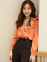 Damen Solide Einfach Ausgehen Hemd,V-Ausschnitt Langarm Baumwolle