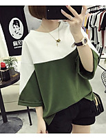 Women's Casual/Daily Sexy Blouse,Check Round Neck ¾ Sleeve Nylon