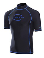 Men's Wetsuit Top Breathable Anatomic Design Sunscreen Chinlon Diving Suit Short Sleeve Tops-Diving Summer Fashion Solid