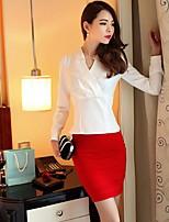Для женщин На выход Рубашка V-образный вырез,Простое Однотонный Длинный рукав,Хлопок