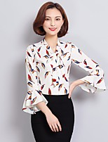 Women's Going out Casual/Daily Simple Blouse,Print Round Neck Long Sleeve Others