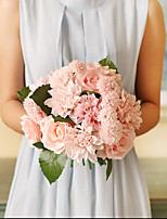 8Heads Silk Roses Aztec Dahlia  Tie-In Bouquet Hand Tied Bouquet Artificial Flowers