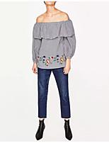 Tee-shirt Femme,Damier Sortie Décontracté / Quotidien Sexy simple Chic de Rue Eté Manches Longues Bateau Soie Coton Fin Moyen