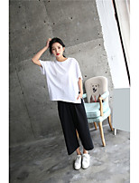 Women's Casual/Daily Street chic T-shirt Pant Suits,Solid Round Neck
