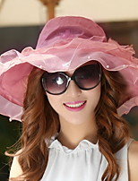 Women Foldable Summer Ladies Anti-UV Big Brim Chiffon Star Love Embroidery Printing Large Slower Decoration Sun Hat