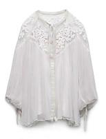 Для женщин На каждый день Блуза V-образный вырез,Простое Однотонный Длинный рукав,Полиэстер,Тонкая