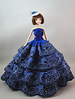 Party/Evening Dresses For Barbie Doll Blue Roses Dress For Girl's Doll Toy