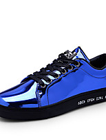 Men's Sneakers Spring Fall Comfort PU Outdoor Flat Heel Lace-up Blue Silver Black Gold Walking