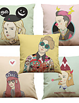Set of 5 Personality Girl  Pattern  Linen Pillowcase Sofa Home Decor Cushion Cover (18*18inch)