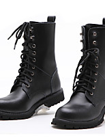 Unisex Boots Spring Summer Fall Winter Comfort Cowhide Outdoor Office & Career Party & Evening Casual Lace-up Black