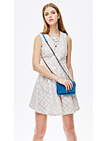 HEARTSOUL Women's Going out Casual/Daily Holiday Simple Cute Street chic A Line Sheath Dress,Geometric Round Neck Above Knee Sleeveless Polyester