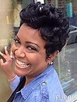 DIY пушистый черный короткие волосы человеческих волос парик элегантный женщина волосы