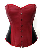 Women Overbust Corset NightwearSexy / Push-Up Patchwork-Medium PU Blue / Red Women's