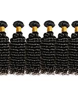 Top Grade 6Pcs/Lot 8-26inch Brazilian Virgin Deep Wavy Hair Natural Black Curly Human Hair Weaves Hot Sale.