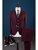 Tailored Fit Flat Collar Single Breasted One-button 3 Pieces Burgundy Straight Flapped