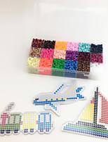 Approx 5400PCS 18 Color 5MM Fuse Beads Set with 3PCS Random Mixed Shape Template Clear Pegboard Train Plane Boat DIY Jigsaw(Set B 18*300PCS)