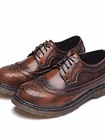 Черный Коричневый Красный-Для мужчин-Повседневный-ПолиуретанУдобная обувь-Туфли на шнуровке