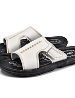 Men's Slippers & Flip-Flops Summer Light Soles PU Casual Dark Brown Black White