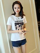 Damen Druck Buchstabe Einfach Lässig/Alltäglich T-shirt,Rundhalsausschnitt Kurzarm Baumwolle