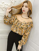 Women's Going out Simple Blouse,Floral Round Neck Long Sleeve Polyester