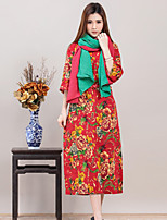 Women's Formal Vintage Chinoiserie Sophisticated Spring Fall Blouse,Print Round Neck ¾ Sleeve Special Leather Types