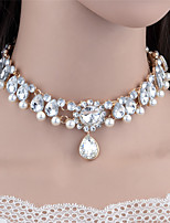 2017 Fashion Unique Pearl Rhinestone Water Drop Pendant Necklace Statement Necklace Wedding Jewelry Wholesale
