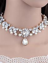 Жен. Ожерелья-бархатки Ожерелья с подвесками Воротничок Стразы Круглой формы Свисающие Искусственный жемчуг Стразы СплавВ виде подвески