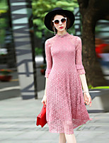 Women's Going out Casual/Daily Party Loose Dress,Solid Round Neck Midi ½ Length Sleeve Polyester Spring Summer Mid Rise Micro-elastic