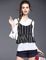 Women's Going out Casual/Daily Vintage Cute Shirt,Solid Striped Print Stand Long Sleeve Polyester