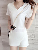 Women's Casual/Daily Work Party/Cocktail Simple Cute Street chic T-shirt Pant Suits,Solid V Neck