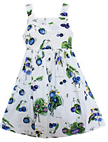 Girls Fashion Dress Blue Blueberry Fruit Print Cotton Dresses Summer Party Princess Holiday Kids Clothing