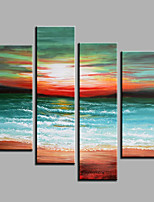 Hand-Painted Abstract Modern Four Panels Canvas Sunset Scenery Oil Painting  For Home Decoration