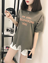 Women's Going out Casual/Daily Sports Simple Cute Summer T-shirt,Solid Letter Round Neck Short Sleeve Cotton Rayon Thin