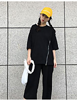Women's Casual/Daily Vintage Street chic T-shirt Pant Suits,Solid Round Neck ¾ Sleeve