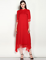 Ample Robe Femme Travail Décontracté / Quotidien Vintage Chinoiserie,Couleur Pleine Mao Midi Manches Courtes Soie Printemps EtéTaille