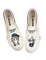 Белый Черный Синий-Для женщин-Повседневный-Полотно-На плоской подошве-Удобная обувь-Мокасины и Свитер