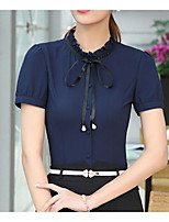 Women's Work Simple Shirt,Solid Shirt Collar Short Sleeve Polyester Thin