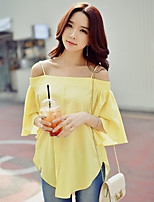 DABUWAWA Women's Going out Beach Holiday Cute Street chic Sophisticated Summer ShirtSolid Strap Short Sleeve Polyester Spandex Opaque Medium