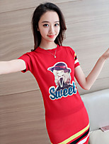 Women's Going out Casual/Daily Sexy Simple Cute Sweater Skirt Suits,Print Letter Round Neck