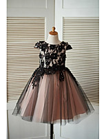 A-line Knee-length Flower Girl Dress - Lace Tulle Jewel with Beading