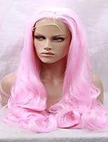 Corps mixte couleur rose femme coiffure fibre résistant à la chaleur ondulé 14-26 pouces de long perruque avant en dentelle synthétique