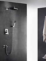 Contemporary Art Deco/Retro Modern Wall Mounted Thermostatic Rain Shower Pullout Spray with  Brass Valve Single Handle Two Holes