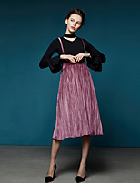 Masked Queen Women's High Rise Going out Casual/Daily Holiday Midi Skirts,Vintage Simple Swing Pleated Solid All Seasons